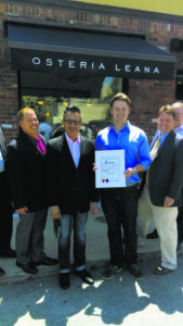 Chamber President Alex Gallego, Osteria Leana's manager Juan Carlos Ortiz and owner/chef Peter Van der Mije with Nassau County Legislator Don Mackenzie