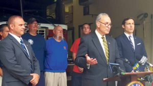 Senator Chuck Schumer at the Garden City Fire Department during a recent press conference