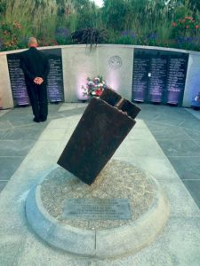 A steel beam from the World Trade Center was the centerpiece of the ceremony.