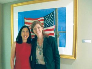 Barbara Ernst Prey (left) with United States Ambassador to the United Nations Samantha Power in front of her painting Gallantly Streaming.