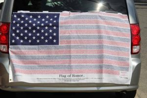 The Flag of Honor with the names of the 9/11 victims.