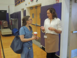 Career Day founder Beth Bucheister (right) with dentist Brittany Schorr (Northwell Health), one of the event's speakers.